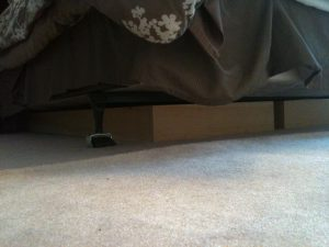 Diy Wood Project Blocking Cats From Hiding Under The Bed