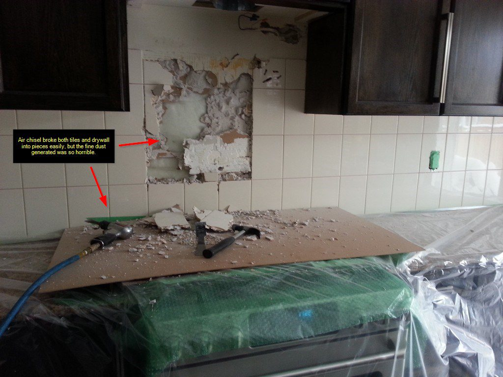 DIY Backsplash Project Glass subway tile Under cabinet lights