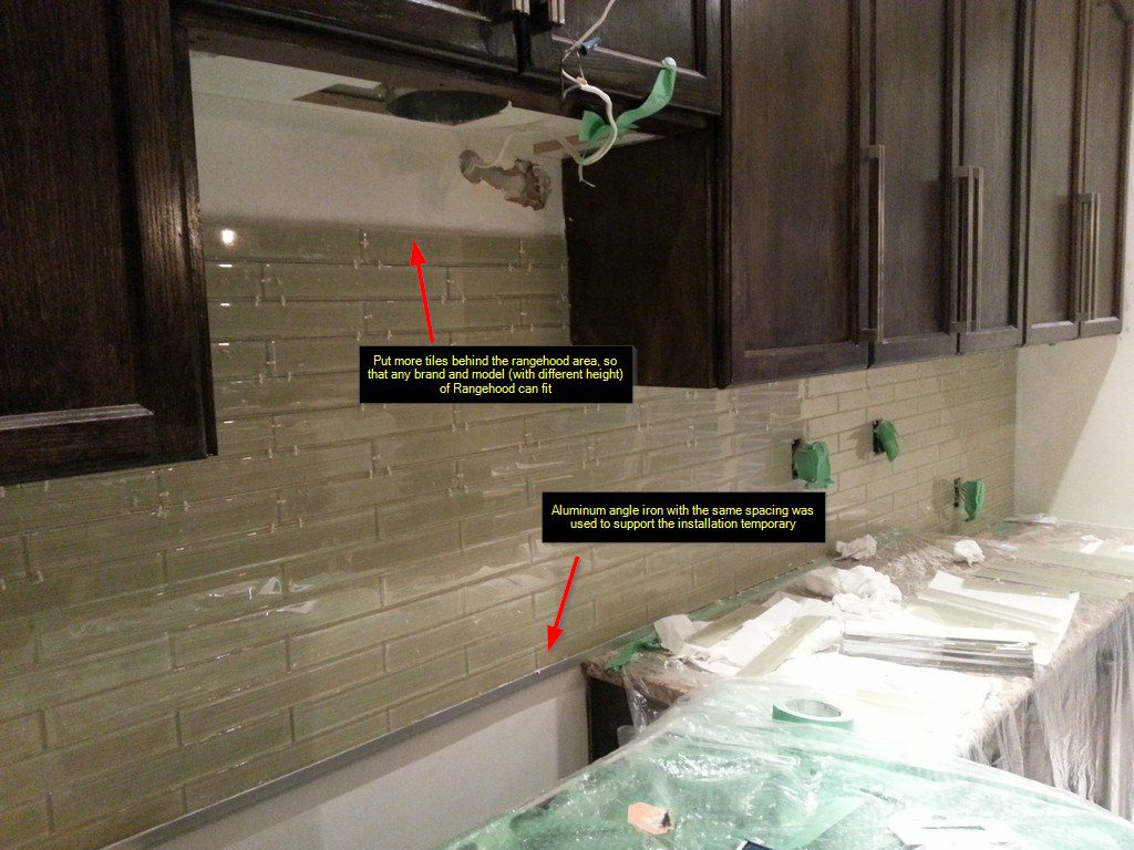 DIY Backsplash Project Glass Subway Tile Under Cabinet Lights - Under cabinet range hood installation