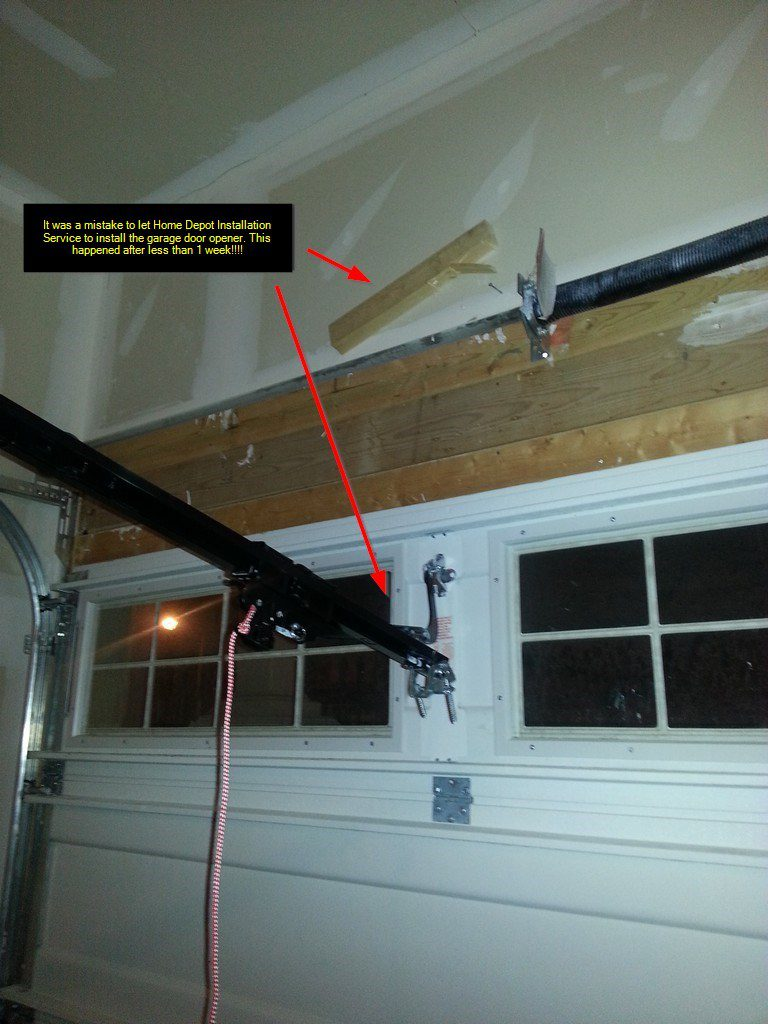 Diy Fix Home Depot Installation Service Fail Garage Door Opener Electrical Wiring Full Refund Satisfaction Guaranteed But They Didnt Communicate