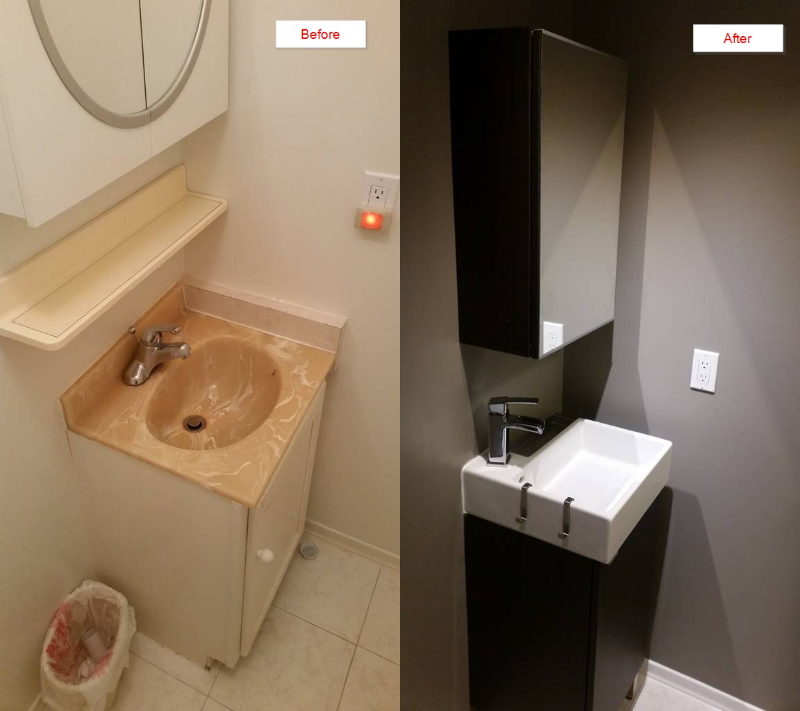 DIY Powder Room Makeover For Mother-in-law's 30 Years Old